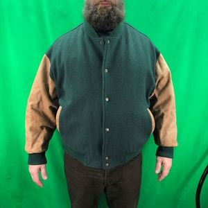 Cabelas 3XL Green Tan Wool Blend Leather Varsity